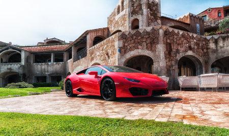 PORTO CERVO, ITALY - AUGUST 08 2017: Sports car Lamborghini Huracan LP 610-4 2014