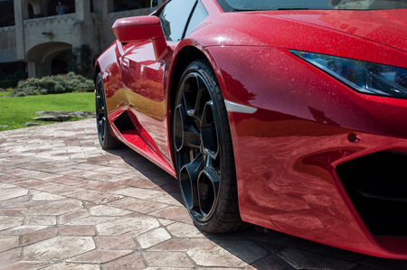 PORTO CERVO, ITALY - AUGUST 08 2017: Sports car Lamborghini Huracan LP 610-4 2014 Stok Fotoğraf - 89898709