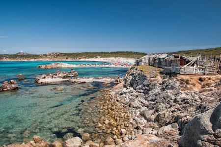 The famous beach rena maiore in sardinia gallura with blue sea