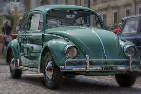 PESARO, ITALY - APRIL 28 - 2018: beetle volkswagen on an old racing car in rally RAID ADRIATICO 2018 the famous italian historical race on APRIL 2018