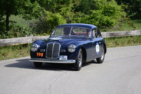 MASERATI A6 1500 BERLINETTA PININ FARINA 1950 on an old racing car in rally Mille Miglia 2018 the famous italian historical race (1927-1957)