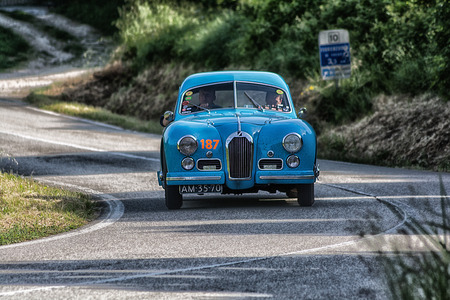PESARO COLLE SAN BARTOLO, ITALY - MAY 17 - 2018: TALBOT-LAGO T 26 GS BERLINETTE 1950 old racing car in rally Mille Miglia 2018 the famous italian historical race (1927-1957)