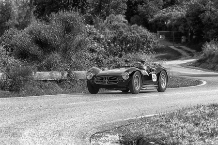 PESARO COLLE SAN BARTOLO, ITALY - MAY 17 - 2018: MASERATI A6GCS / 53 FANTUZZI 1954 old racing car in rally Mille Miglia 2018 the famous italian historical race (1927-1957)