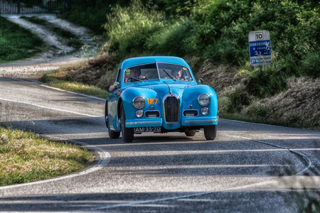 PESARO COLLE SAN BARTOLO, ITALY - MAY 17 - 2018: TALBOT-LAGO T 26 GS BERLINETTE 1950 TALBOT-LAGO T 26 GS BERLINETTE 1950 old racing car in rally Mille Miglia 2018 the famous italian historical race