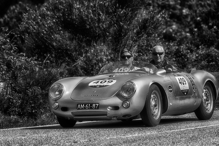 PESARO COLLE SAN BARTOLO, ITALY - MAY 17 - 2018: PORSCHE 550 SPYDER 1500 RS 1955 old racing car in Mille Miglia rally 2018 the famous italian historical race (1927-1957)