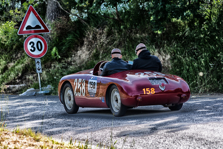 PESARO COLLE SAN BARTOLO, ITALY - MAY 17 - 2018: FIAT SIATA 750 SPORT 1948 old racing car in rally Mille Miglia 2018 the famous italian historical race (1927-1957) Editorial