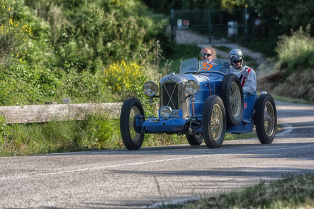 PESARO COLLE SAN BARTOLO, ITALY - MAY 17 - 2018: SALMSON GS 8 GD SPORT old racing car in rally Mille Miglia 2018 the famous italian historical race (1927-1957)