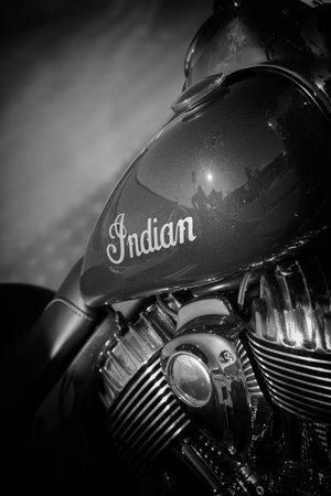 PESARO PORTO, ITALY - JUNE 13 - 2018: indian IN BIKERS BEACH FEST PESARO