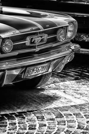 Fano lido, ITALY - june 10 - 2018: vintage mustang old car in historical exposure in fano lido summer 2018