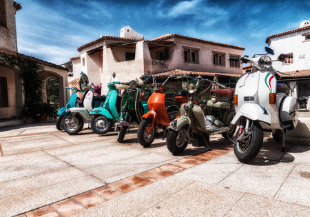 italy sardinia july 2018 same vespa and lambretta vintage