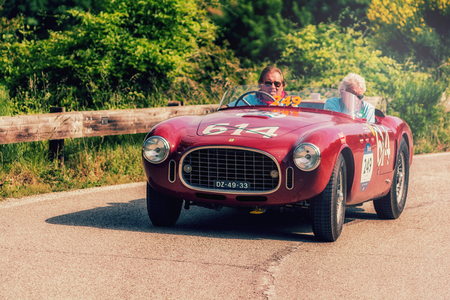 PESARO COLLE SAN BARTOLO, ITALY - MAY 17 - 2018: FERRARI 340 AMERICA SPIDER VIGNALE 1952 old racing car in rally Mille Miglia 2018 the famous italian historical race (1927-1957)