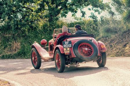 PESARO COLLE SAN BARTOLO, ITALY - MAY 17 - 2018: ALFA ROMEO 6C 1750 SS ZAGATO 1929 old racing car in rally Mille Miglia 2018 the famous italian historical race (1927-1957) Editorial
