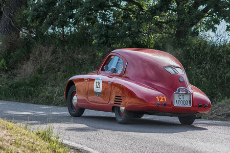PESARO COLLE SAN BARTOLO, ITALY - MAY 17 - 2018: FIAT 1100 MM BERLINETTA 1938 old racing car in rally Mille Miglia 2018 the famous italian historical race (1927-1957)