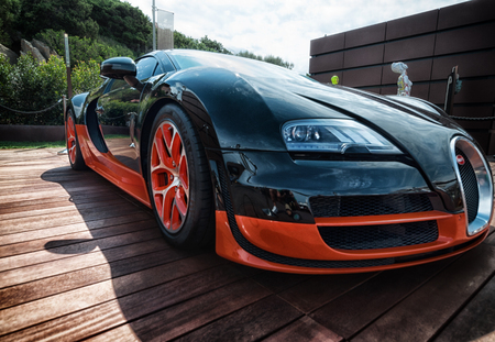 Italy august 2018 - Bugatti Veyron super car on display at Porto Cervo in Sardinia. The Bugatti is a French car manufacturer, notably for its sports cars