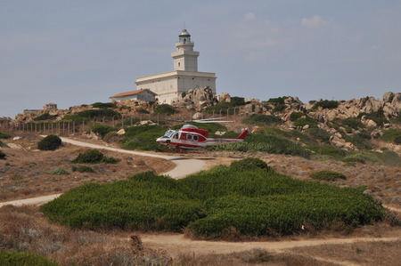 Sardinia Italy - Capo Testa August 22 2018: Helicopter of Italian firefighters Archivio Fotografico - 107889948