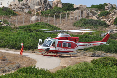 Sardinia Italy - Capo Testa August 22 2018: Helicopter of Italian firefighters Archivio Fotografico - 107889955