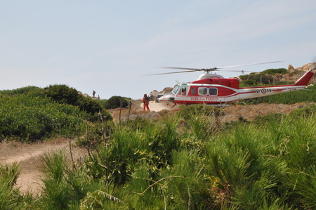 Sardinia Italy - Capo Testa August 22 2018: Helicopter of Italian firefighters