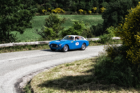 PESARO COLLE SAN BARTOLO, ITALY - MAY 17 - 2018: FERRARI 212225 S EXPORT BERL. VIGNALE 1951 on an old racing car in rally Mille Miglia 2018 the famous italian historical race (1927-1957)