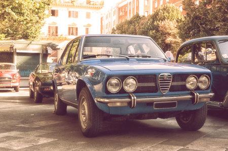 ANCONA , ITALY - SET 23 - 2018 : ALFA ROMEO ALFETTA 1973 BLU LE MANS old car Editorial