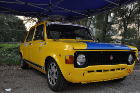 PESARO, ITALY - OCTO 13 - 2018: FIAT 128 COUPE 'SL FIRST EDITION RACE AUTOMOBILE RESERVED VINTAGE CAR