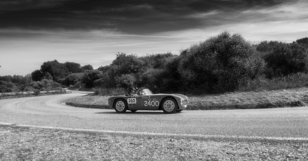 PESARO COLLE SAN BARTOLO, ITALY - MAY 17 - 2018: PARISOTTO PASQUALIN 750 SPORT 1952 on an old racing car in the Mille Miglia rally 2018 the famous italian historical race (1927-1957)