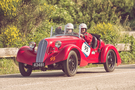 PESARO COLLE SAN BARTOLO, ITALY - MAY 17 - 2018: FIAT 508 CS BALILLA SPORT SPECIALE 1934 old racing car in Mille Miglia rally 2018 the famous italian historical race (1927-1957) Editorial
