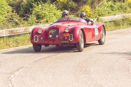 PESARO COLLE SAN BARTOLO , ITALY - MAY 17 - 2018 : ALFA ROMEO 6C 2500 SS CORSA 1939 on an old racing car in rally Mille Miglia 2018 the famous italian historical race (1927-1957)