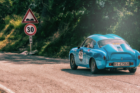 PESARO COLLE SAN BARTOLO, ITALY - MAY 17 - 2018: ABARTH FIAT 750 GT ZAGATO 1956 on an old racing car in the Mille Miglia rally 2018 the famous italian historical race (1927-1957)
