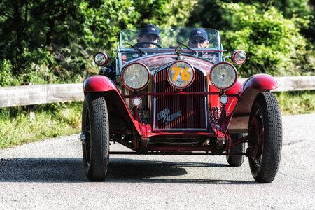 PESARO COLLE SAN BARTOLO, ITALY - MAY 17 - 2018: ALFA ROMEO 6C 1750 GRAN SPORT ZAGATO 1931 on an old racing car in rally Mille Miglia 2018 the famous italian historical race (1927-1957) Editorial