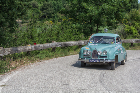 PESARO COLLE SAN BARTOLO , ITALY - MAY 17 - 2018 : SAAB 93 1957 on an old racing car in rally Mille Miglia 2018 the famous italian historical race (1927-1957)