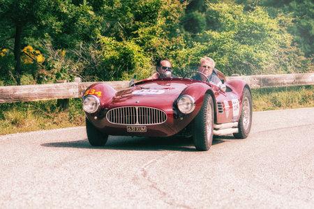 PESARO COLLE SAN BARTOLO, ITALY - MAY 17 - 2018: MASERATI A6GCS FIANDRI 1954 on an old racing car in the rally Mille Miglia 2018 the famous italian historical race (1927-1957)