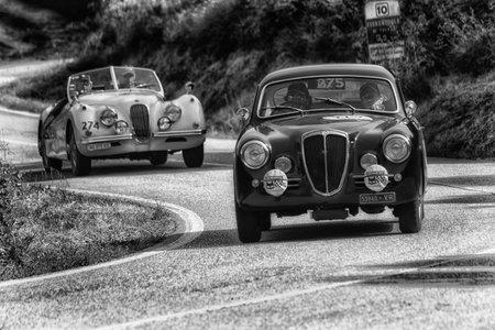 PESARO COLLE SAN BARTOLO , ITALY - MAY 17 - 2018 :LANCIA AURELIA B 20 GT 2500 1957 on an old racing car in rally Mille Miglia 2018 the famous italian historical race (1927-1957) Editoriali