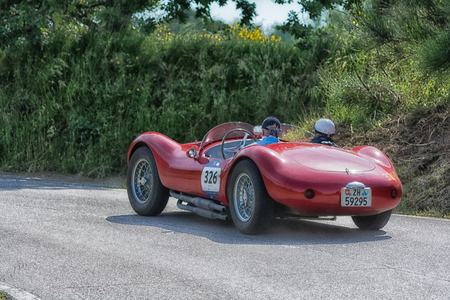 PESARO COLLE SAN BARTOLO , ITALY - MAY 17 - 2018 : MASERATI A6 GCS/53 FANTUZZI 1954 on an old racing car in rally Mille Miglia 2018 the famous italian historical race (1927-1957)