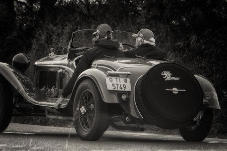 PESARO COLLE SAN BARTOLO , ITALY - MAY 17 - 2018 : ALFA ROMEO 6C 1750 GRAN SPORT BRIANZA 1932 on an old racing car in rally Mille Miglia 2018 the famous italian historical race (1927-1957) Editorial