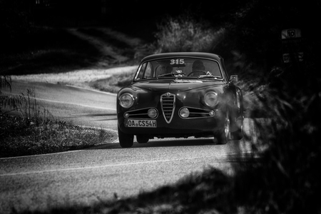 PESARO COLLE SAN BARTOLO , ITALY - MAY 17 - 2018 : ALFA ROMEO 1900 C SPRINT TOURING 1954 on an old racing car in rally Mille Miglia 2018 the famous italian historical race (1927-1957) Editorial