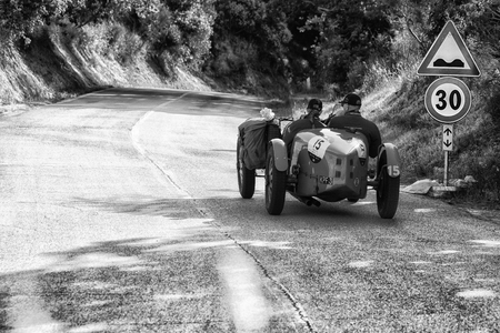 PESARO COLLE SAN BARTOLO, ITALY - MAY 17 - 2018: BUGATTI T 40 1927 on an old racing car in rally Mille Miglia 2018 the famous italian historical race (1927-1957) Publikacyjne