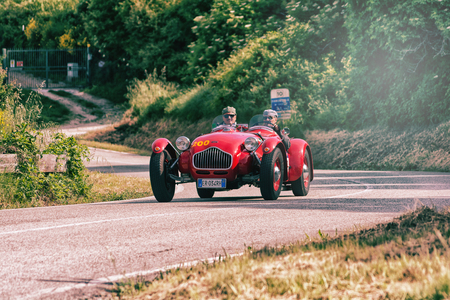 PESARO COLLE SAN BARTOLO , ITALY - MAY 17 - 2018 : ALLARD J2 1950 on an old racing car in rally Mille Miglia 2018 the famous italian historical race (1927-1957) Editorial