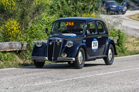 PESARO COLLE SAN BARTOLO , ITALY - MAY 17 - 2018 : LANCIA ARDEA 1952 on an old racing car in rally Mille Miglia 2018 the famous italian historical race (1927-1957) Editorial