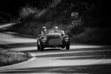 PESARO COLLE SAN BARTOLO , ITALY - MAY 17 - 2018 : FERRARI 166 MM SPIDER TOURING 1950 on an old racing car in rally Mille Miglia 2018 the famous italian historical race (1927-1957) Editorial