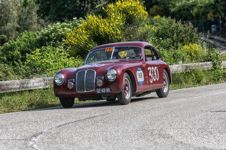 PESARO COLLE SAN BARTOLO , ITALY - MAY 17 - 2018 : MASERATI A6 1500 BERLINETTA PININ FARINA 1949 on an old racing car in rally Mille Miglia 2018 the famous italian historical race (1927-1957)