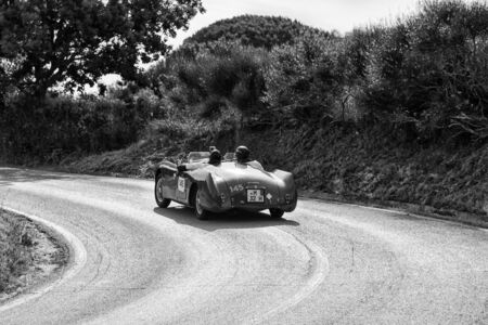PESARO COLLE SAN BARTOLO , ITALY - MAY 17 - 2018 : CISITALIA 202 S MM SPIDER 1947 on an old racing car in rally Mille Miglia 2018 the famous italian historical race (1927-1957)