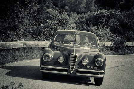 PESARO COLLE SAN BARTOLO , ITALY - MAY 17 - 2018 : ALFA ROMEO 6C 2500 SS COUPÉ TOURING 1949 on an old racing car in rally Mille Miglia 2018 the famous italian historical race (1927-1957)