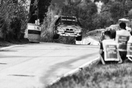 SAN MARINO, SAN MARINO - OCT 21: LANCIA DELTA S4 1986 old racing car rally THE LEGEND 2017 the famous SAN MARINO historical race Reklamní fotografie - 131041514