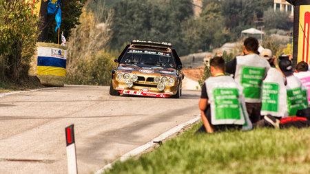 SAN MARINO, SAN MARINO - OCT 21: LANCIA DELTA S4 1986 old racing car rally THE LEGEND 2017 the famous SAN MARINO historical race