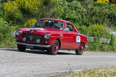 PESARO COLLE SAN BARTOLO, ITALY - MAY 17 - 2018: FIAT 1100103 TV PININ FARINA 1954 on an old racing car in the rally Mille Miglia 2018 the famous italian historical race (1927-1957) Redakční