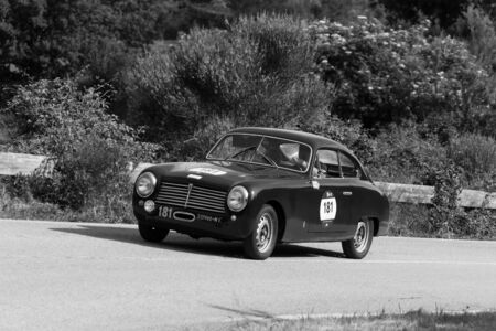PESARO COLLE SAN BARTOLO , ITALY - MAY 17 - 2018 : FIAT 1100 S BERLINETTA PININ FARINA 1950 on an old racing car in rally Mille Miglia 2018 the famous italian historical race (1927-1957)