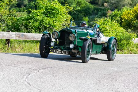 PESARO COLLE SAN BARTOLO , ITALY - MAY 17 - 2018 : ASTON MARTIN ULSTER 1935 on an old racing car in rally Mille Miglia 2018 the famous italian historical race (1927-1957) Redakční