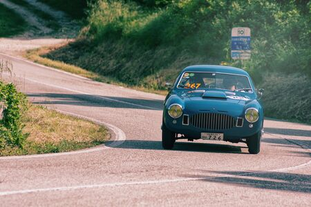 PESARO COLLE SAN BARTOLO , ITALY - MAY 17 - 2018 : ZAGATO FIAT 8V 1952 on an old racing car in rally Mille Miglia 2018 the famous italian historical race (1927-1957) Redakční