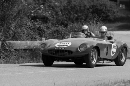PESARO COLLE SAN BARTOLO , ITALY - MAY 17 - 2018 : FERRARI 750 MONZA SPIDER SCAGLIETTI 1954 on an old racing car in rally Mille Miglia 2018 the famous italian historical race (1927-1957)