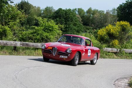 PESARO COLLE SAN BARTOLO , ITALY - MAY 17 - 2018 : ALFA ROMEO 1900 C SUPER SPRINT TOURING 1956 on an old racing car in rally Mille Miglia 2018 the famous italian historical race (1927-1957) Redakční
